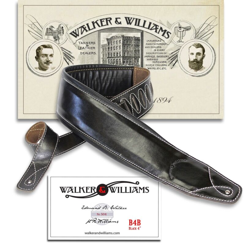 "Walker & Williams B4B Extra Wide 4"" Black Leather Double P"