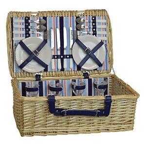 4 Person Picnic Hamper Set. Wicker Willow Outdoor Basket