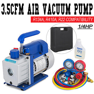 Combo 3,5CFM 1/4HP Air Vacuum Pump HVAC + R134A Kit AC A/C Dual Manifold Gauge