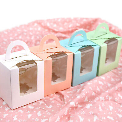 10/20 Pcs Single Cupcake / Muffin / Fairy Cake Boxes With Clear Window Gift Box