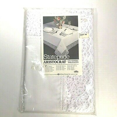 Vintage State Pride Lace Bordered Tablecloth White 52x52 Square New Belk Stores