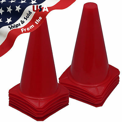 "9"" Football Training Pitch Marker Traffic Cone Space Field Agility Cone RED"