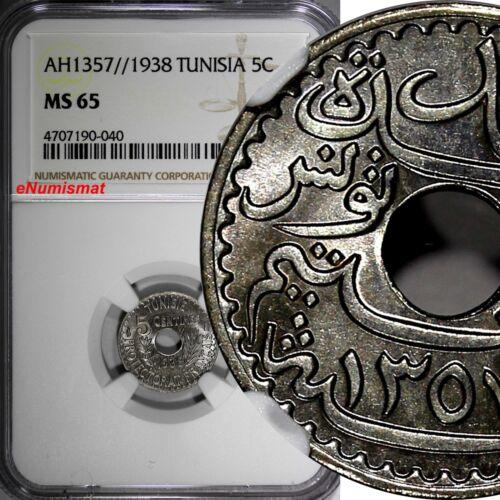 Tunisia Nickel-Bronze  AH1357//1938 5 Centimes NGC MS65 KM# 258