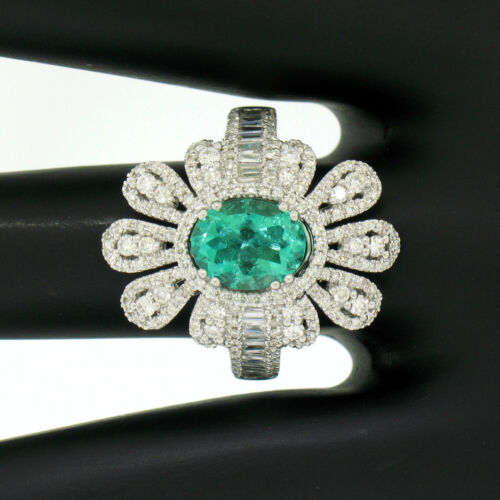 14k White Gold 3.05ctw Colombian Emerald Round & Baguette Diamond Cocktail Ring
