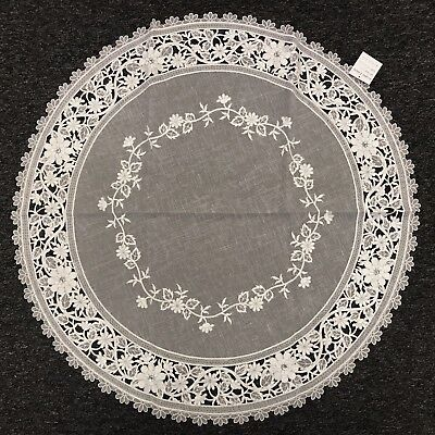 "33"" Round Wedding Bridal White Silver Rhine Stone Embroidery Organza Tablecloth"
