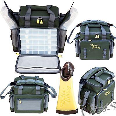 Delta Fishing XXL Angeltasche mit 7 Tackle Boxen Ködertasche Zubehör Tasche Kva (Boxen-tasche)
