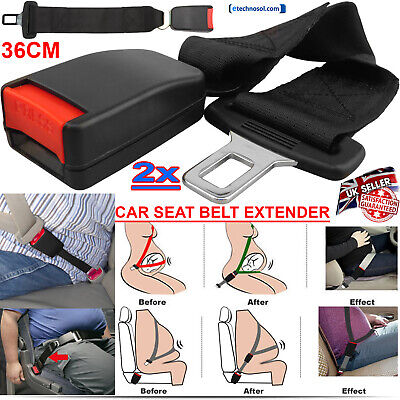 2X UNIVERSAL CAR SAFETY SEAT SEATBELT EXTENSION EXTENDER SUPPORT BUCKLE CLIP UK