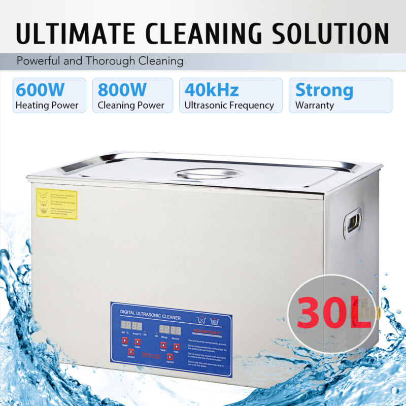 Ultrasonic Cleaner 30L Commercial Stainless Steel Heated wit