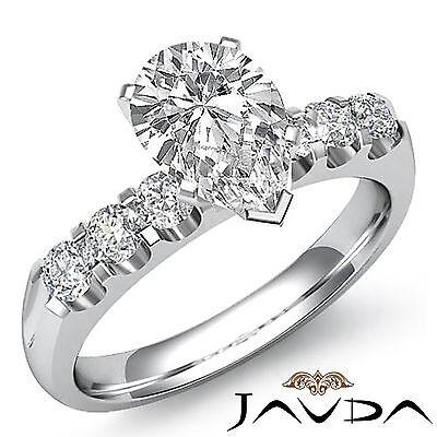 6 Stone Prong Set Pear Cut Diamond Engagement Ring GIA H SI1 Platinum 1.31 ct 1