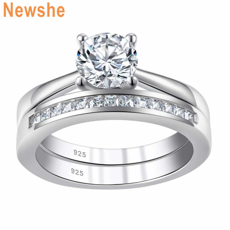 Newshe Engagement Wedding Ring Set For Women 925 Sterling Silver Round Aaaa Cz