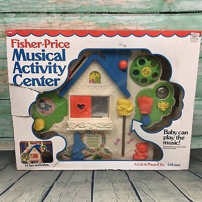 Vintage Fisher Price Musical Activity Center #1100 Nursery Crib Toy 1985 w/ BOX