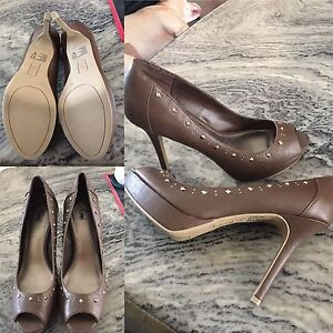 Brown Studded Pumps