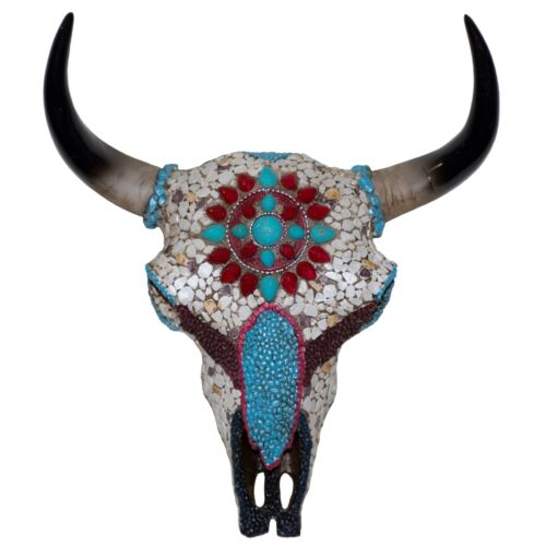 """Faux Buffalo Skull With Stone Mosaic Wall Hanging 10.5"""" High Resin New In Box!"""
