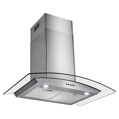 """30"""" Stainless Steel Wall Mount Range Hood Tempered Glass Push Button Stove Vent"""