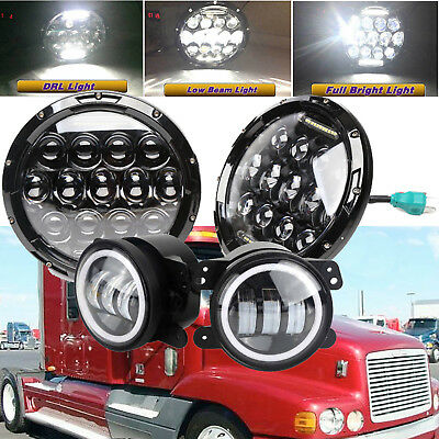 Fog Lights + 7'' 75W H4 Headlights Hi/Lo LED Lamp for Freightliner Century Class