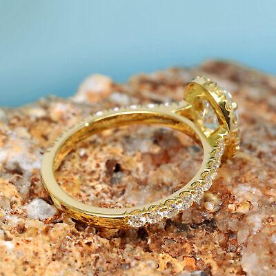 Natural 2.20 Ct Oval Cut Halo U-Setting Pave Diamond Engagement Ring E SI1 14k 4