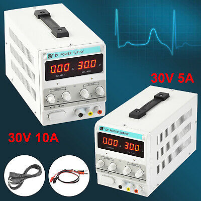 30v Digital Dc Power Supply Variable Adjustable Dual Led Display Lab Test 10a5a