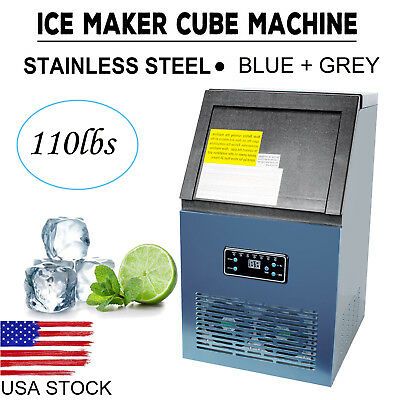 Portable Auto Commercial Ice Maker Cube Machine 50kg Stainless Steel Bar Durable