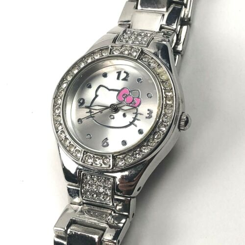 Sanrio Hello Kitty Watch Silver Stainless Steel Band Crystal Bezel New Battery