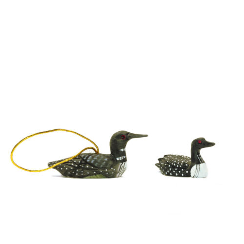 "Set of 2 Loon Wood Christmas Ornament 3"" and Polystone Black & White Figurine 2"""