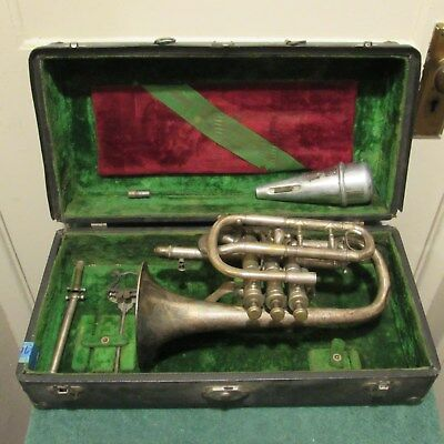 Vintage Conn Elkhart Ind. cornet serial number 12379 with case