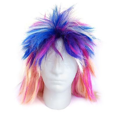 Punk Rock Rocker Chick Wig 80s Neon Rave Party Festival Fancy Dress - 80s Rocker Chick Halloween