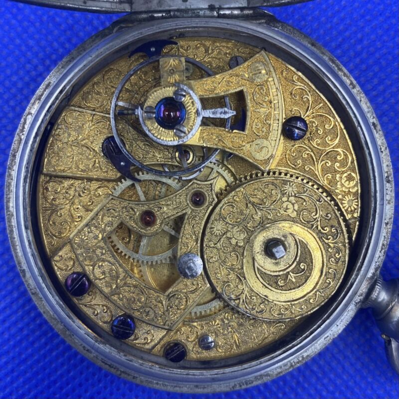 1850's Chinese Duplex Antique Silver Pocket Watch Engraved Movement Qing Dynasty