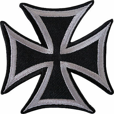 Black Grey Maltese Cross Embroidered Iron Sew On Patch Shirt Jeans Jacket Badge
