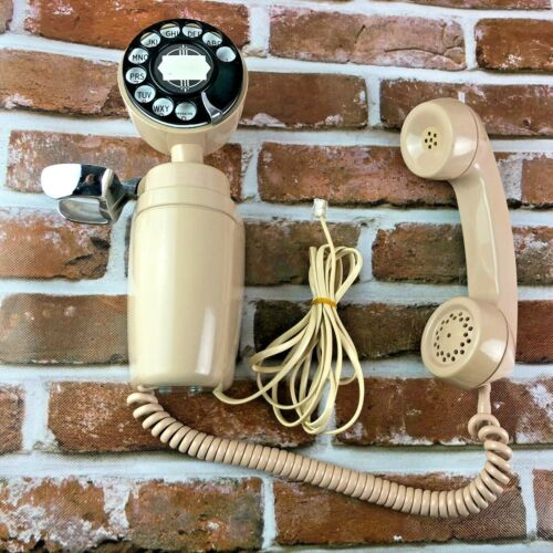 Vtg 1965 Automatic Electric NB830 Spacemaker Rotary Dial Beige  Wall Phone