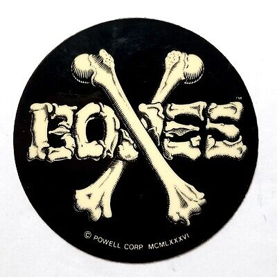 "Powell Peralta Original Swiss 4/"" Bones Cross Shield Skateboard Sticker"