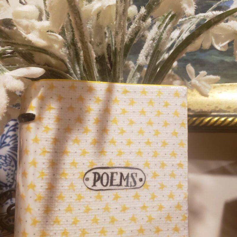 Anthropologie Ex Libris Poems Eclectic Deco Ceramic Book Planter Vase Yellow