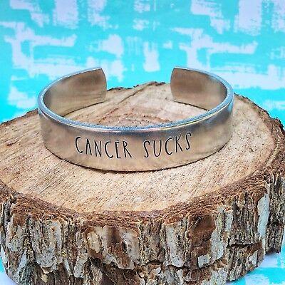 Cancer Sucks Handstamped Stackable Aluminum Cuff Bracelet - Cancer Sucks Bracelets