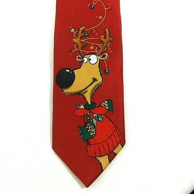 Youth Boys Reindeer Christmas Holiday Red Clip On Necktie Tie