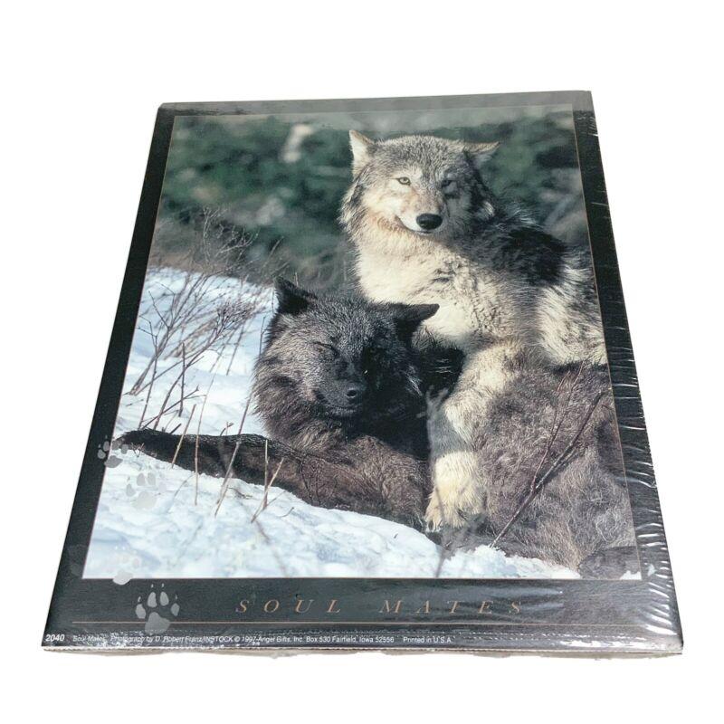 Robert Franz 1997 Soul Mates Grey & Black Wolves Sealed Print 8x10