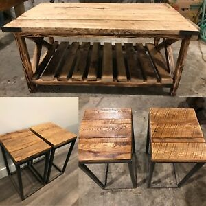 3 Piece Rustic Reclaimed Wood & Iron Table Set