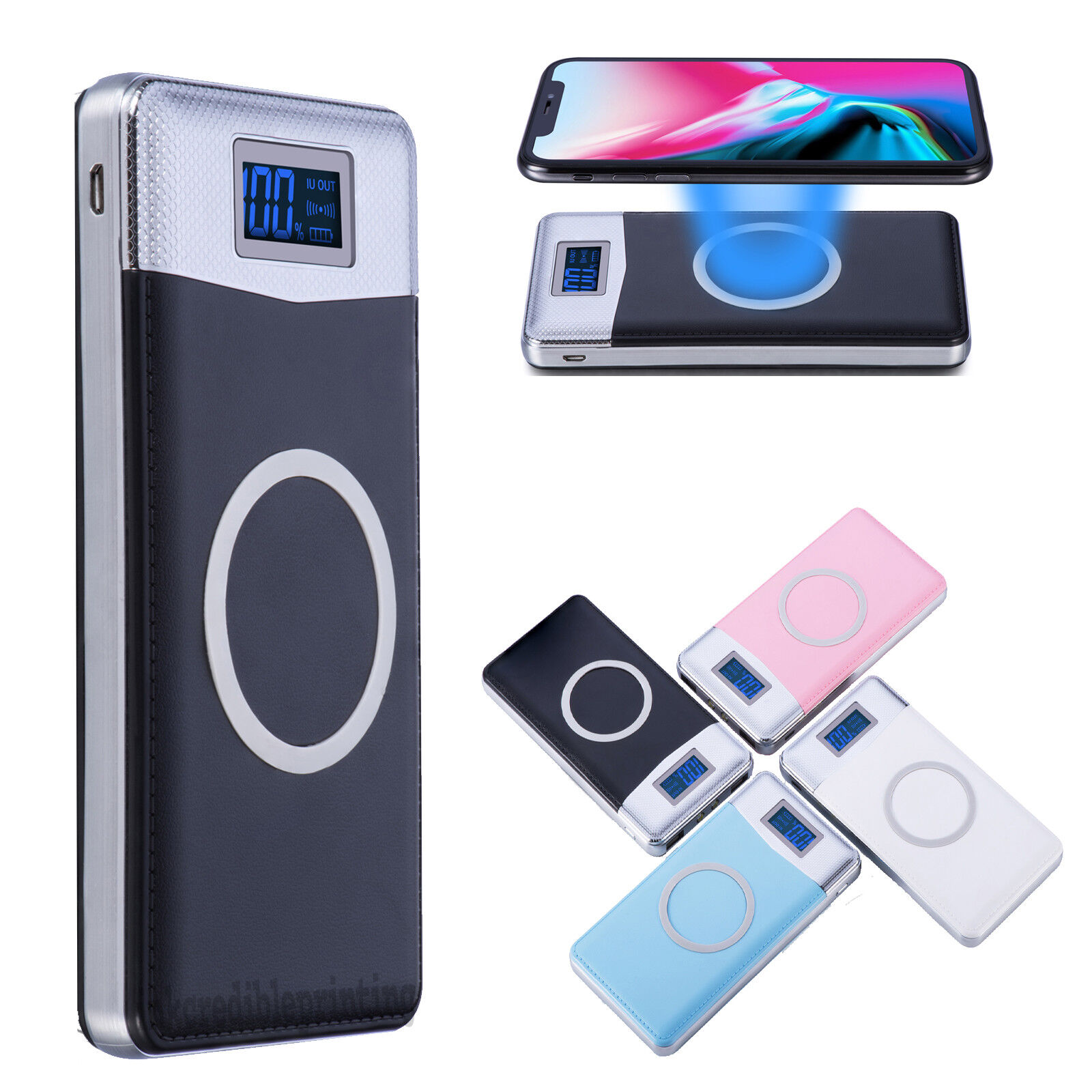 NEW 900000mAh Power Bank Qi Wireless Charging 2 USB LED Portable Battery Charger Cell Phone Accessories