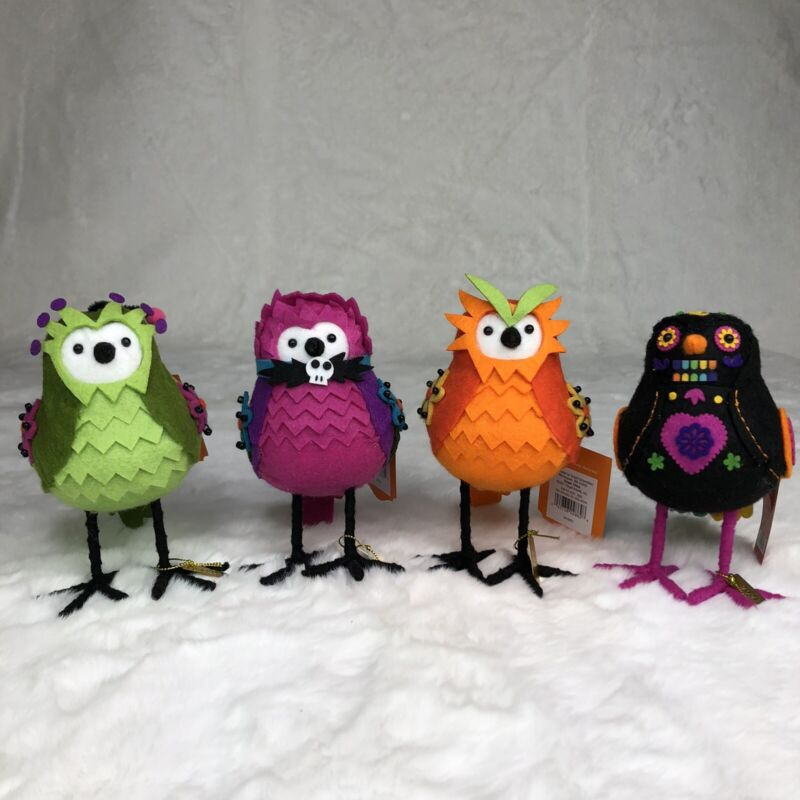 Set Of 4 Featherly Friends Ghoulish Garden Birds Halloween Spooky Hyde And Eek