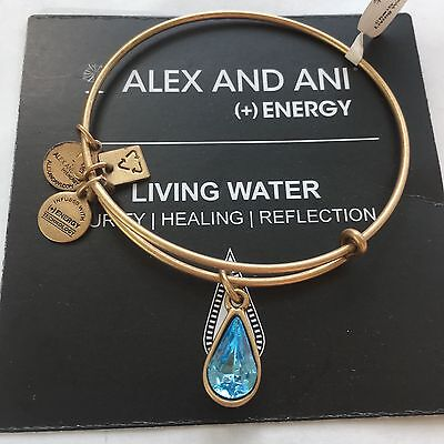 Alex And Ani  Living Water Blue  International  Bracelet In Russian Gold  Nwt