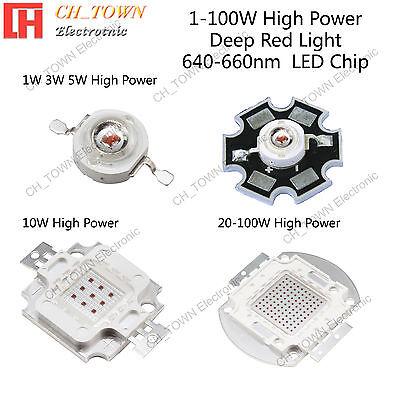 1w 3w 5w 10w 20w 30w 50w 100w Deep Red 640-660nm High Power Smd Led Chip Lights