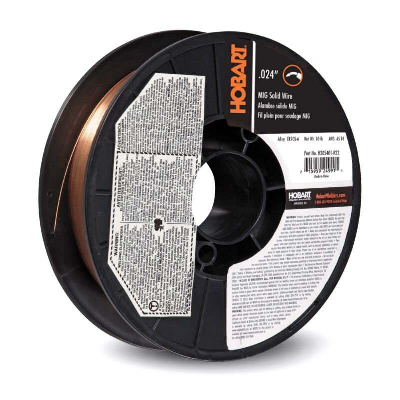 """Hobart ER 70S6 MIG Wire .024 X 10 Lb (8"""") Spool"""
