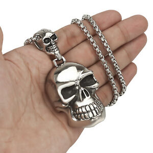 Men's Large Double Silver Skulls Stainless Steel Biker Pendant Necklace Chain