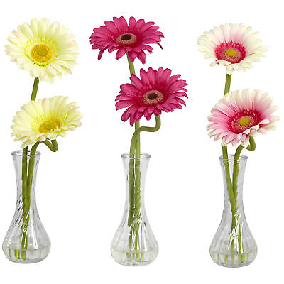 Set of 3 Artificial Gerber Daisy Flower Arrangements Faux Water Glass Bud Vases