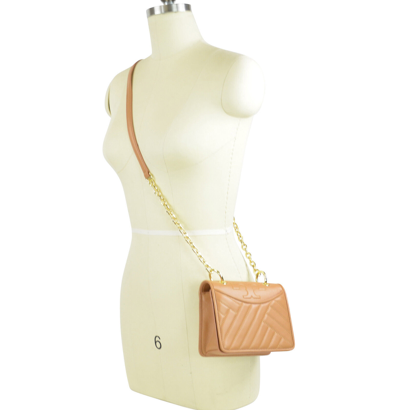 fcb82ea40050 Details about New Tory Burch Alexa Vachetta Tan Shoulder Crossbody Mini Bag   328+gift box