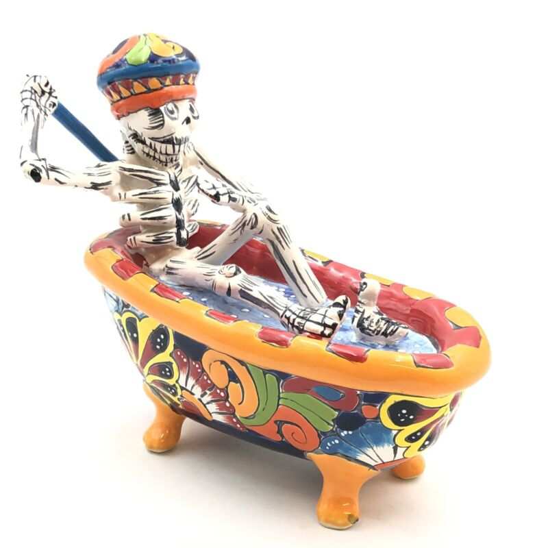 Talavera Day Of The Dead Catrina Bathtub Handmade Mexican Pottery 9""