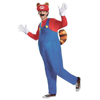 Adult Mario Halloween Costume (Adult Mens Super Mario 3 Raccoon Halloween Costume Inflatable Jumpsuit)