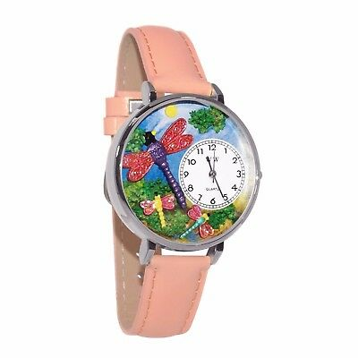 Whimsical Watches Unisex U1210007 Dragonflies Pink Leather Watch