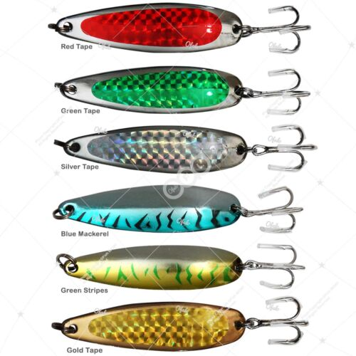 10pcs 1oz Fishing Spoon Jig Krocodile Style Trolling Flutter Metal Lures 6-color