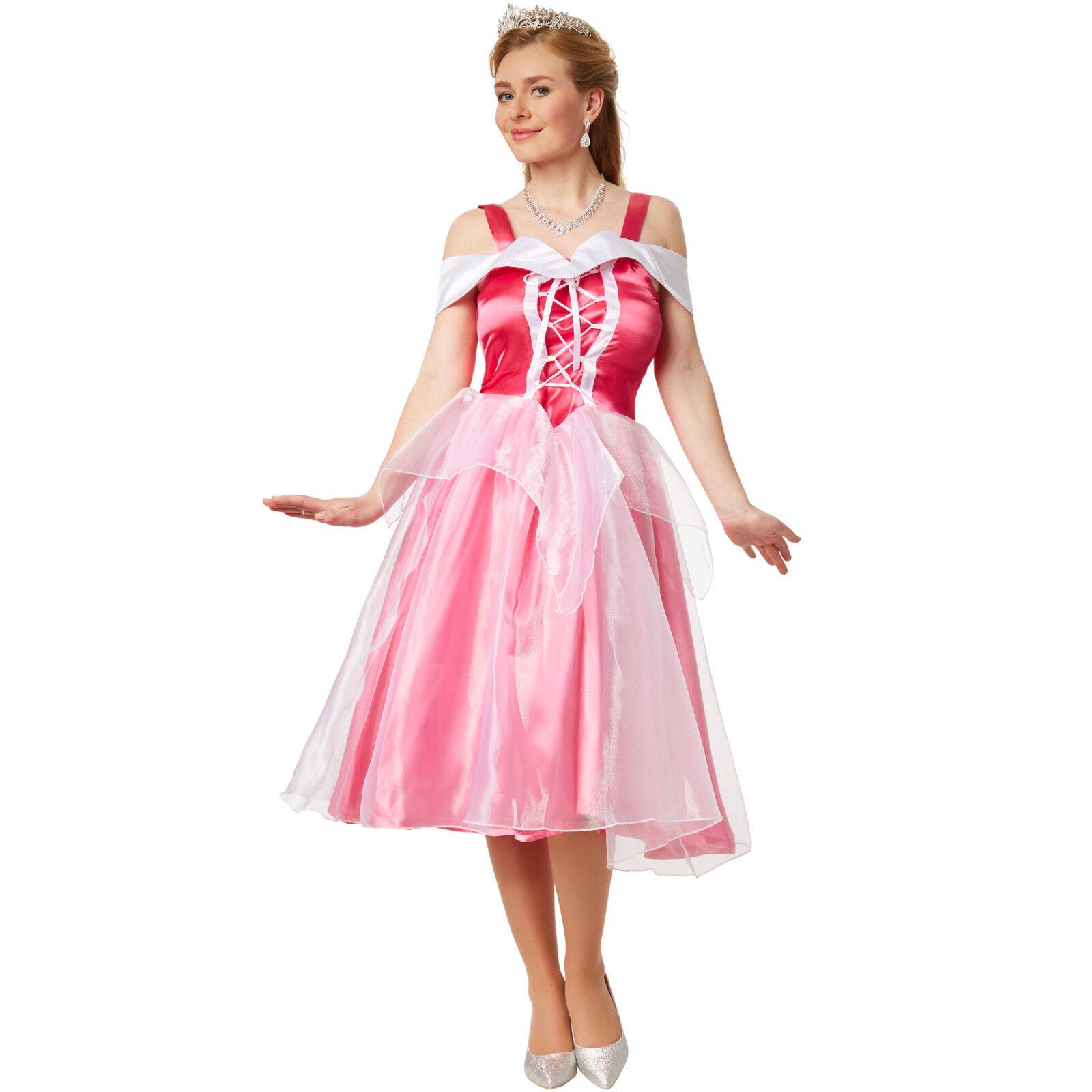 Damen Kostüm Prinzessin Aurora elegantes Kleid Film Königin Dornröschen Karneval