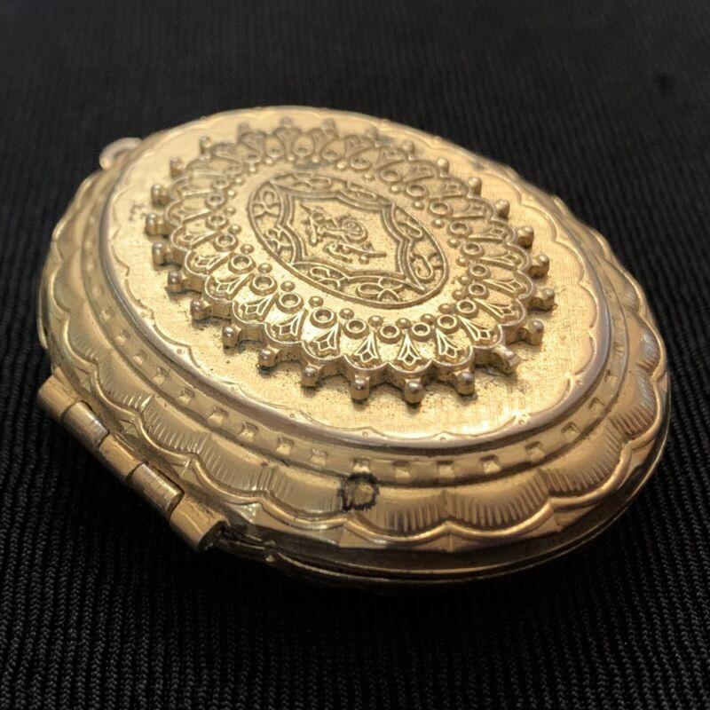 "Vtg Edwardian Victorian Art Deco Gold Tone Large Photo Locket Pendant Ornate 2"""