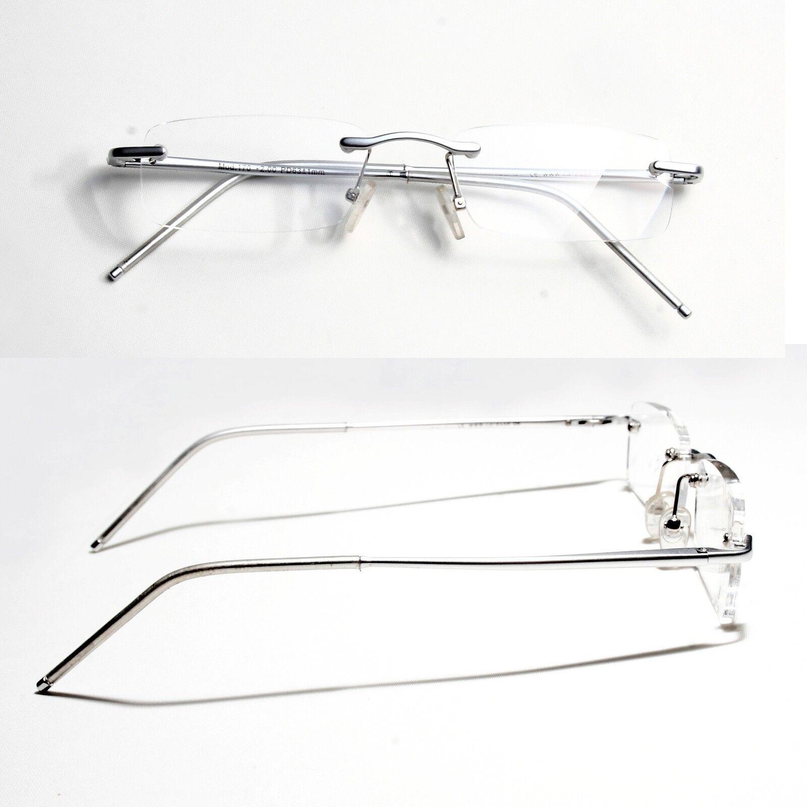Hochwertige Lesebrille Aluminium randlos Unisex Lesehilfe silber Urlaub-Set